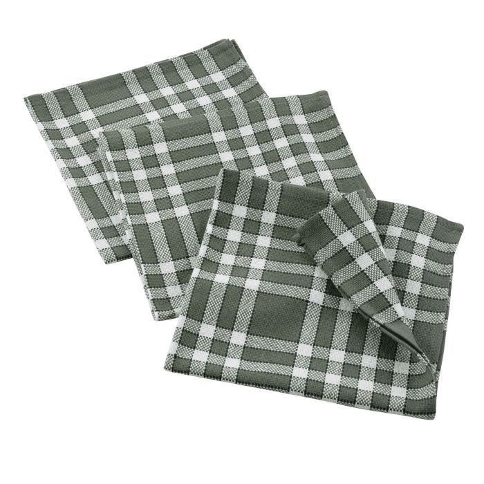 CDaffaires 3 serviettes de table 45 x 45 cm coton tisse traditio Kaki