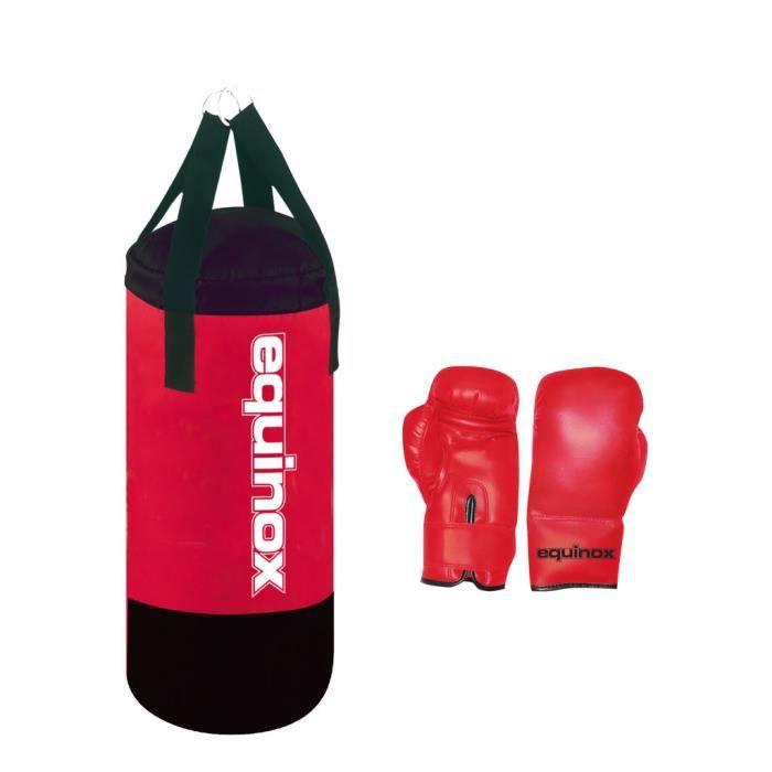 EQUINOX - Set boxe junior - sac de boxe kg 3 + gants 4 oz. - Rouge - réf BOE-001
