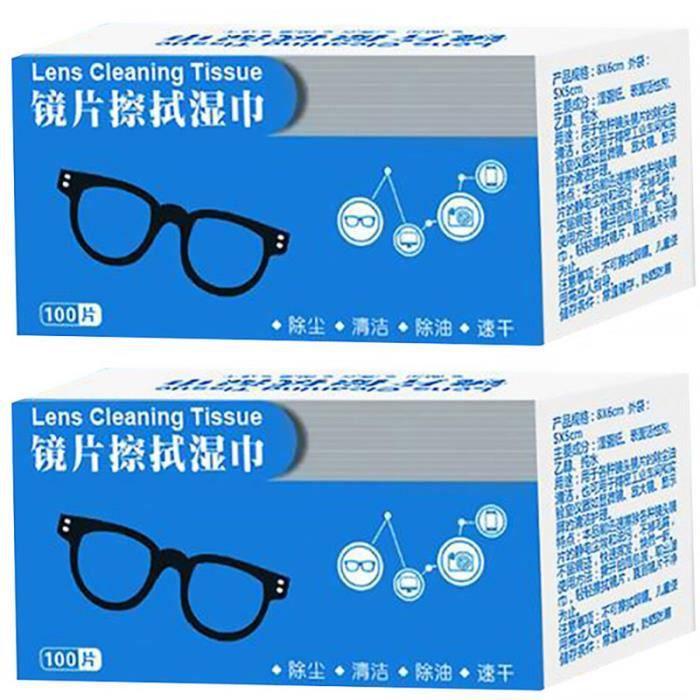 200pcs lunettes lentilles de nettoyage lingettes lunettes de nettoyage chiffon appareil photo lentille écran lingettes humides