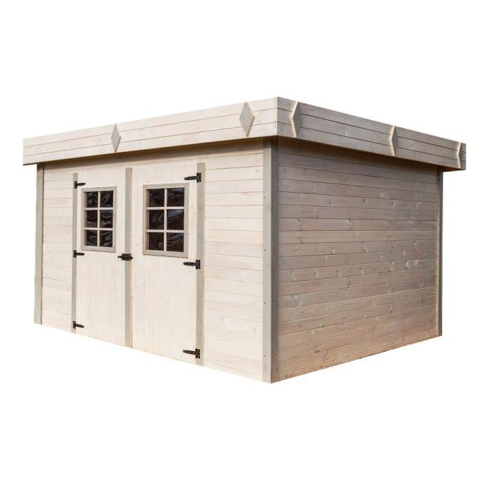 Abri de jardin en bois madriers massif 16,77m² toit plat avec bac acier