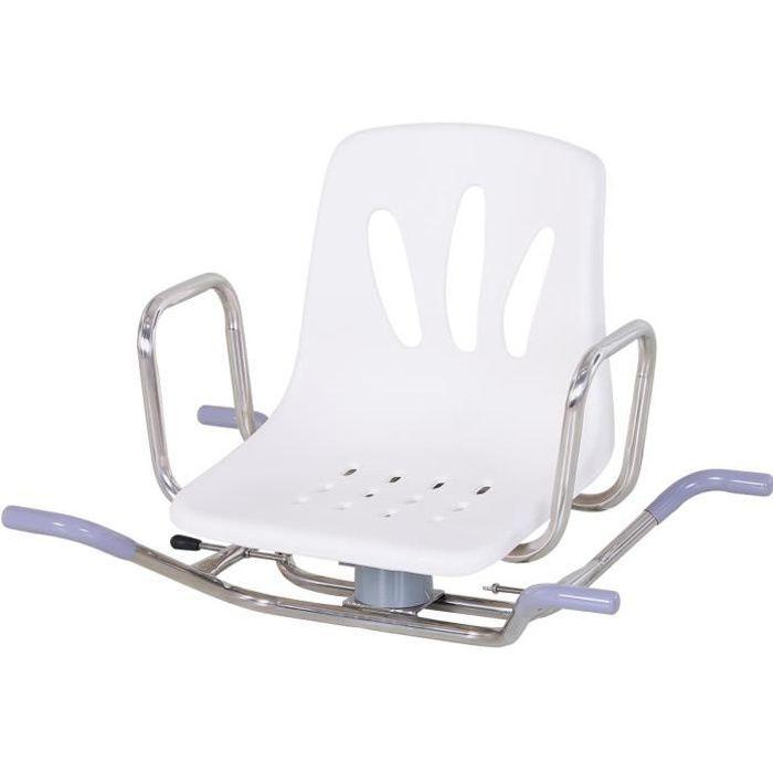 Siège de baignoire avec appuis réglables - chaise de bain pivotante - planche de bain - acier inox. PE blanc 73x50x52cm