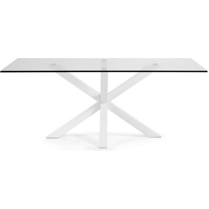 Table Argo, epoxy blanc et verre transparent