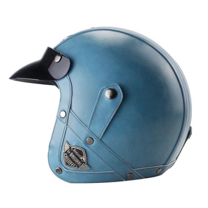 Casque Moto de Marque luxe unisexe Casque Harley vintage rétro détachable moto casque demi casque en pu cuir de personnality casque