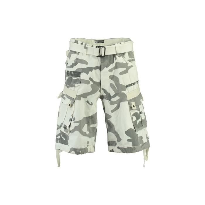 Bermuda Homme Geographical Norway Panoramique Camo New Blanc