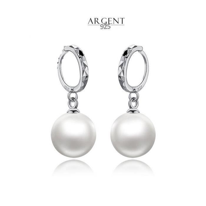 NACRE DE PERLE Boucles d'oreille Créoles Perle Blanche 1 cm Argent 925