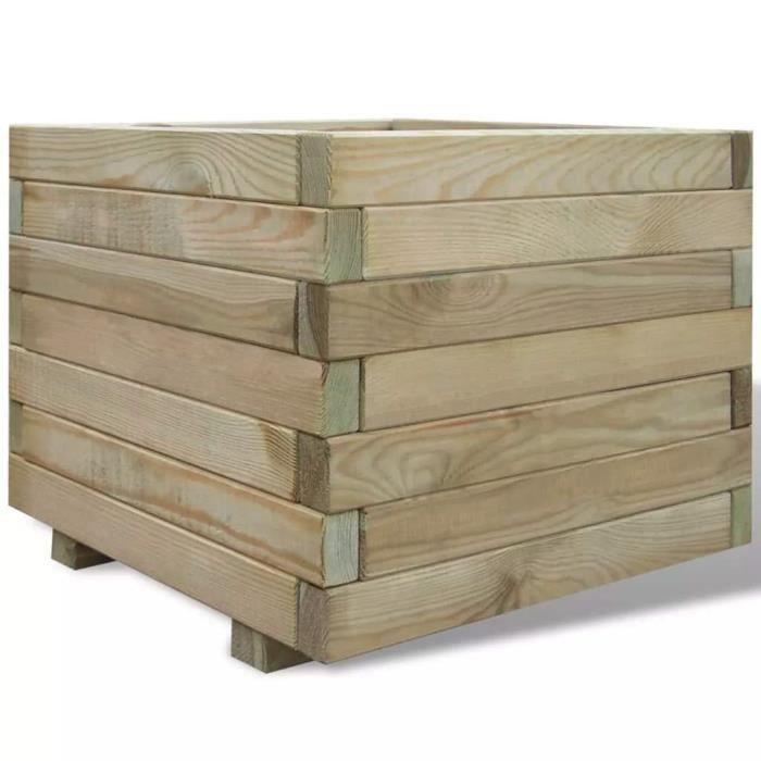 Jardinière carrée en bois 50 x 50 x 40 cm