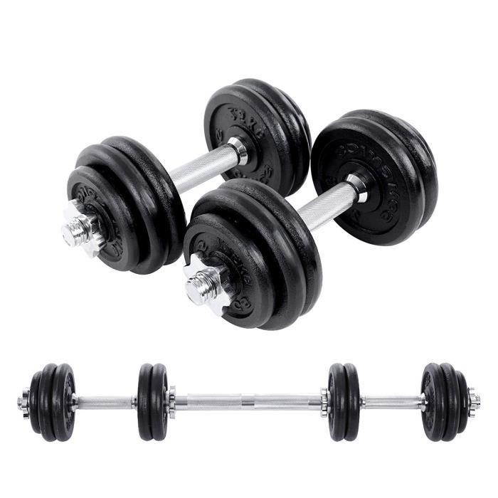 Kit Haltères musculation avec barre d'extension 1 barre supplémentaire Poids ajustable 10 kg, 20 kg, 30 kg, SYL30LBK SONGMICS