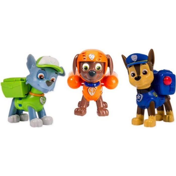 PAT PATROUILLE Pack 3 Figurines Sac à Dos Transformable 2 : Chase, Zuma et Rocky