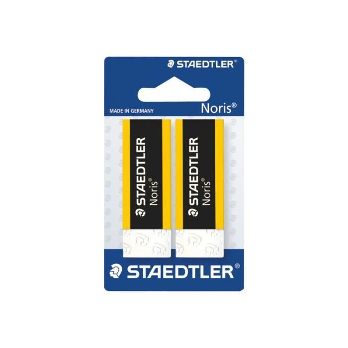STAEDTLER Noris Gomme 6.5 x 2.3 x 1.3 cm polypropylène jaune, noir (pack de 2)