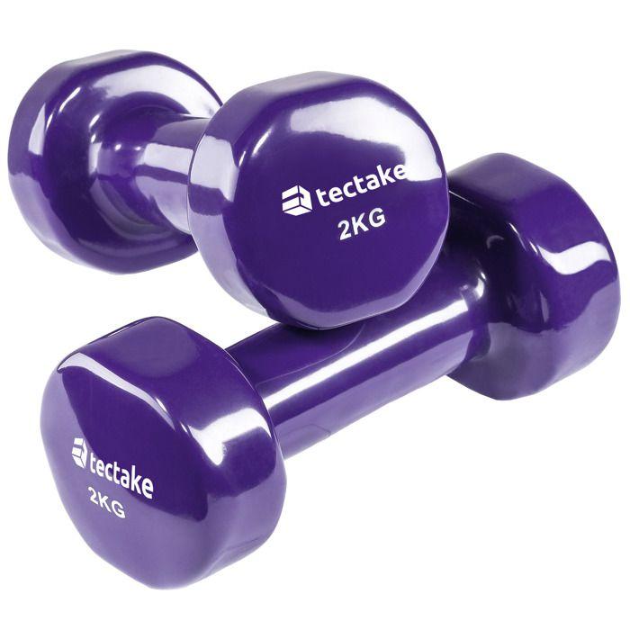 TECTAKE 2 Haltères de Musculation 2 kg en Vinyle Violet