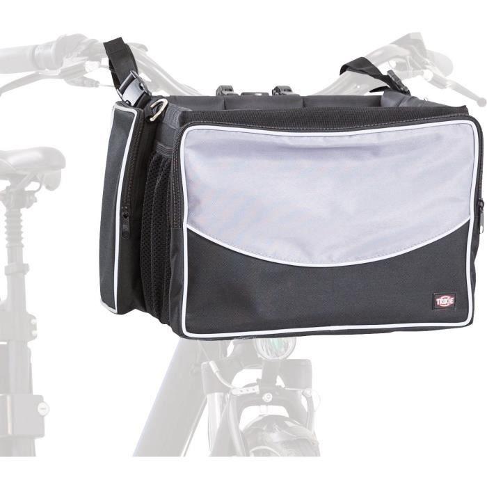 TRIXIE Panier avant de vélo pour animaux 41x26x26 cm Noir et gris