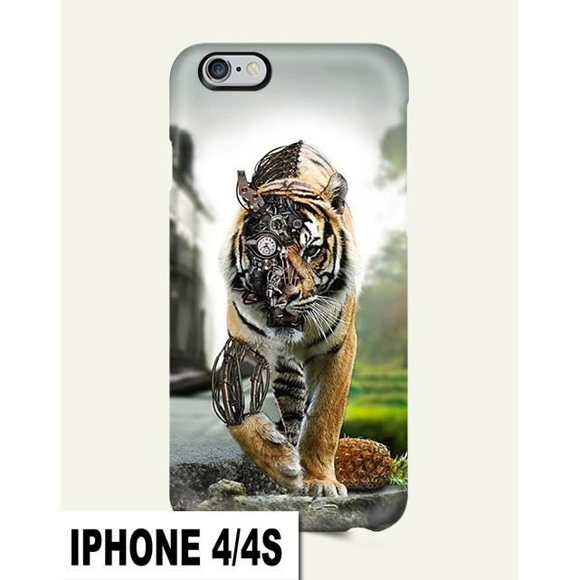 COQUE IPHONE 4 / 4S ANIMAL TIGRE LION CHAT ROBOT - Cdiscount ...