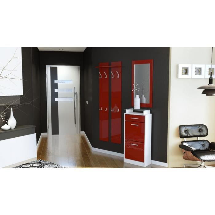 ensemble de hall d 39 entr e laqu design blanc et bordeaux achat vente meuble d 39 entr e. Black Bedroom Furniture Sets. Home Design Ideas