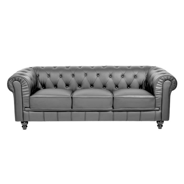 Canap chesterfield 3 places gris capitonn achat vente canap sofa d - Canape chesterfield gris ...