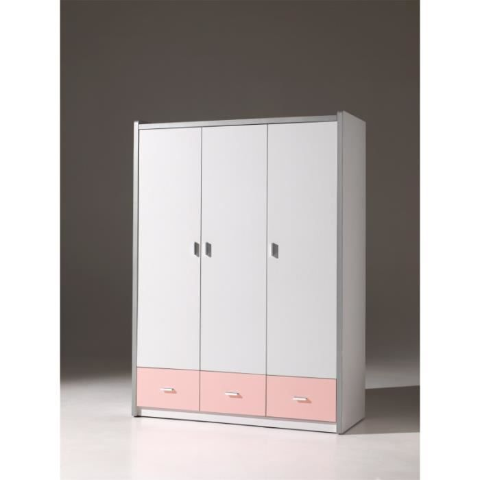 armoire enfant blanche et rose 3 portes alvin blanche et rose achat vente armoire de. Black Bedroom Furniture Sets. Home Design Ideas