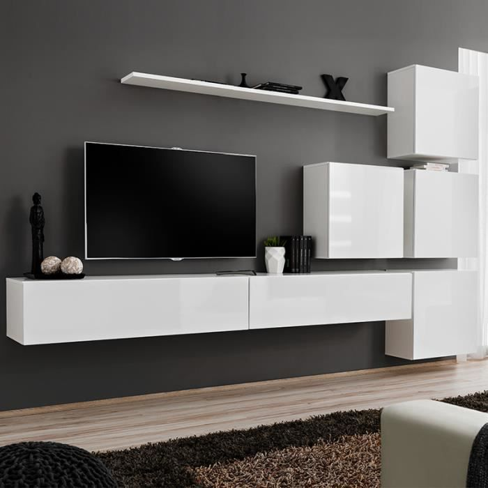 meuble tele suspendu blanc curzio 3 l 310 x p 40 x