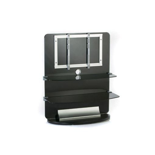 meuble tv support lcd en verre noir 2 tages achat vente meuble tv meuble tv support lcd. Black Bedroom Furniture Sets. Home Design Ideas