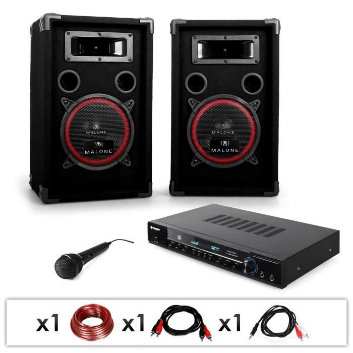 electronic star dj10 pack sono dj avec ampli pa 2 enceintes syst me 2 voies subwoofer. Black Bedroom Furniture Sets. Home Design Ideas