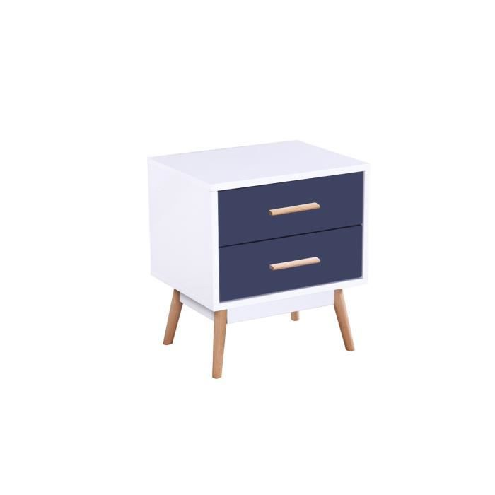 Table de chevet jimmy mdf laqu blanc et bleu achat vente chevet table de - Cdiscount table de chevet ...