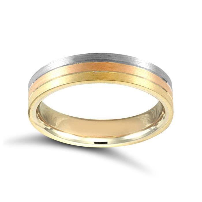 Jewelco London Or 3 couleurs 18k mariage bague 5mm