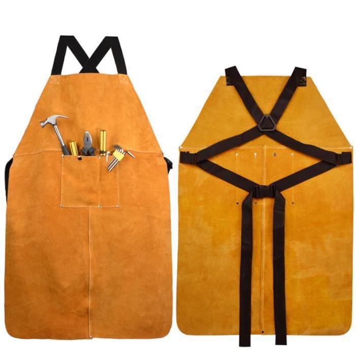 gris Tablier de soudage en cuir professionnel Soudeur en peau de vache Prot/éger V/êtements