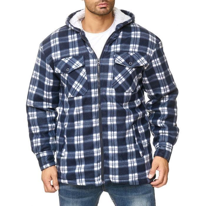 Homme Poches sur le devant avec Col en polaire bûcheron Casual hiver chaud carreaux shirt