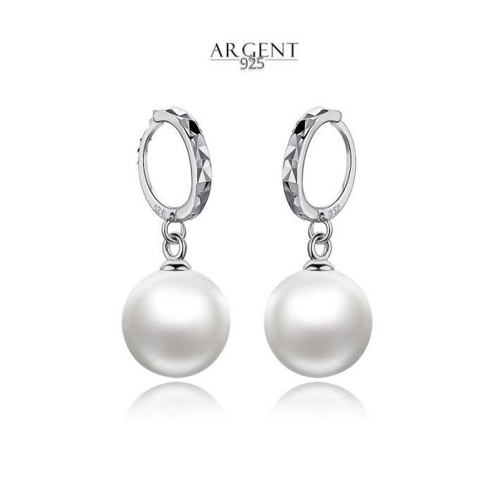 Argent Sterling 925 Boucles d/'oreilles avec véritable Perle marquée beau