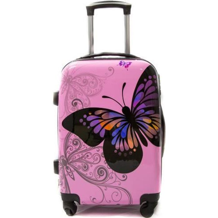 """VALISE - BAGAGE Valise moyenne 4 roues 65cm """"Butterfly"""" Rose Polyc"""
