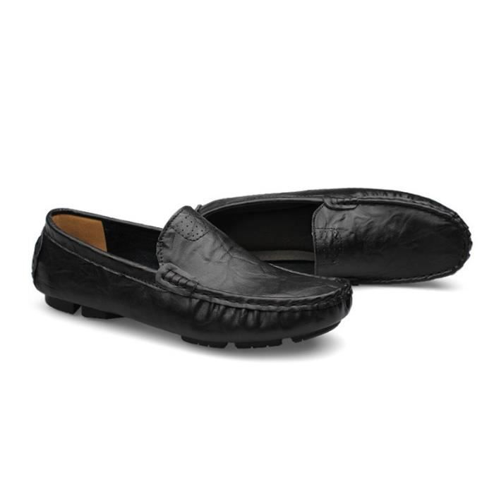 Mocassin Hommes Mode Chaussures Grande Taille Chaussures BLKG-XZ73Noir45