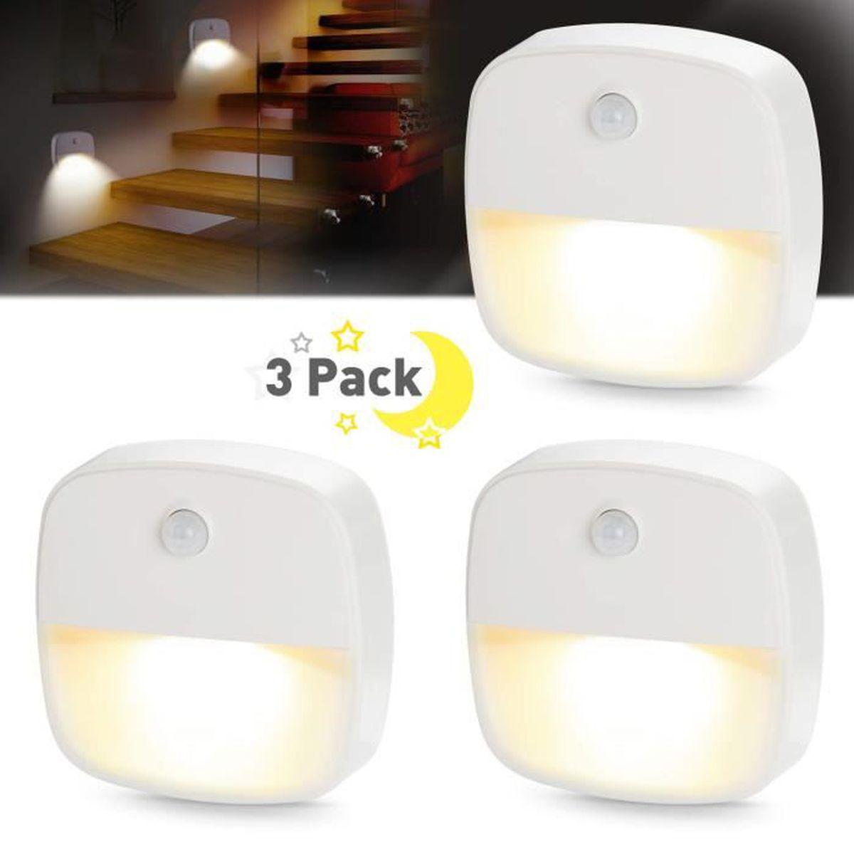 3PCS USB Blanc Capteur LED Cabinet Veilleuse Double induction USB AA Capteur de mouvement infrarouge PIR Blanc//Lampe murale murale magn/étique chaude