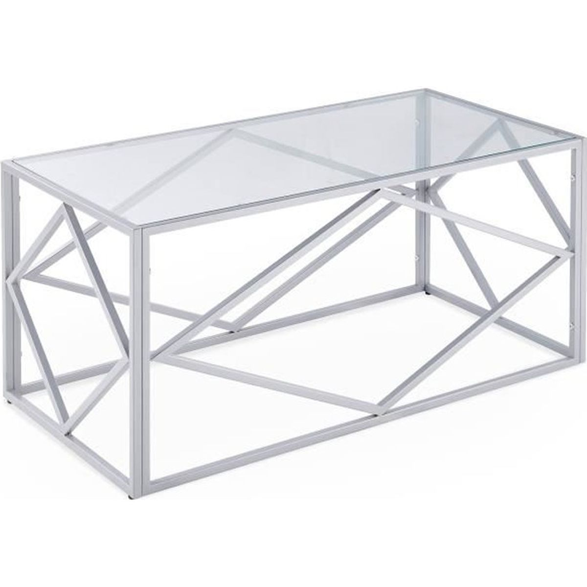 Table basse rectangulaire en verre et métal argenté