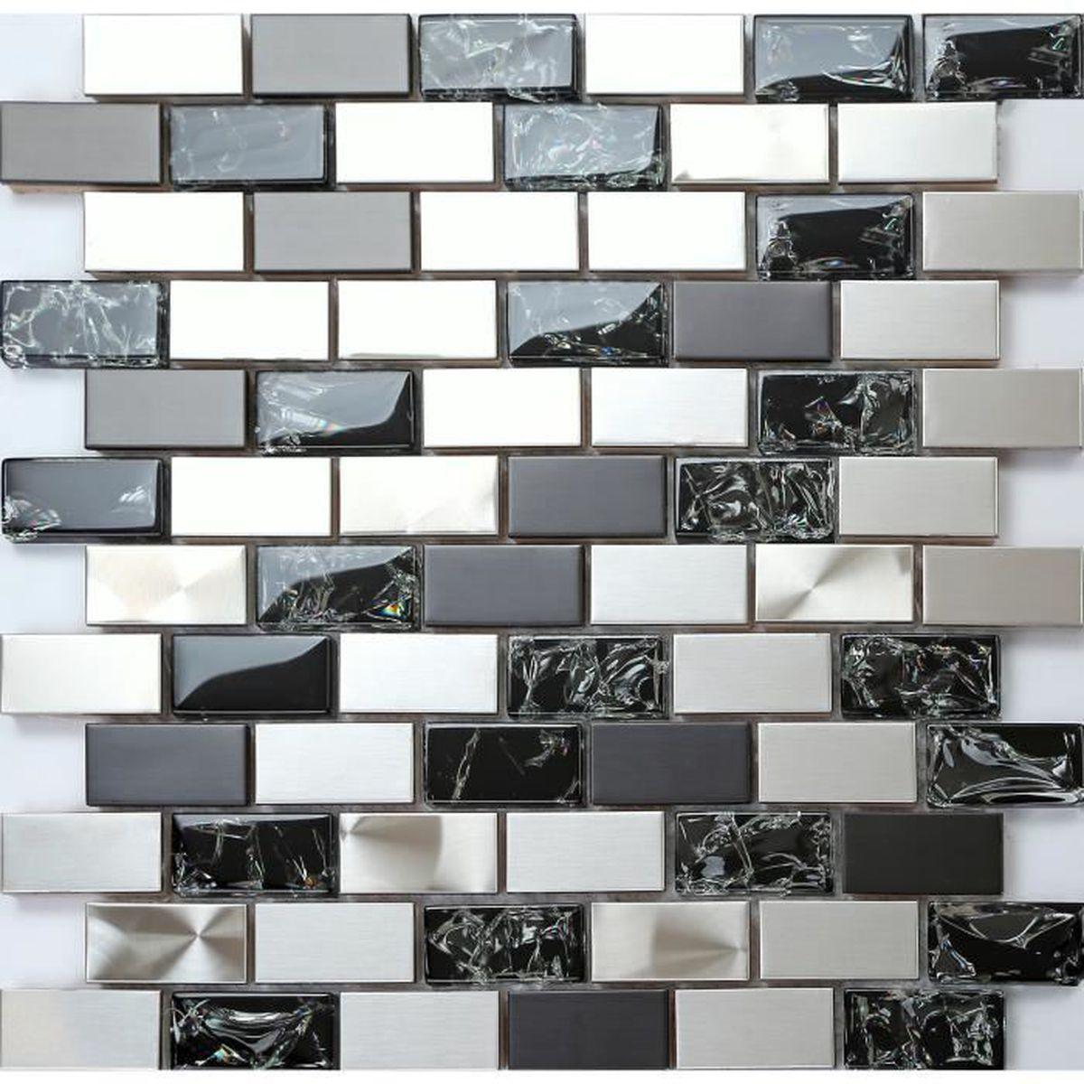 MT0150 1 m² argent verre /& acier brossé MOSAIC TILE