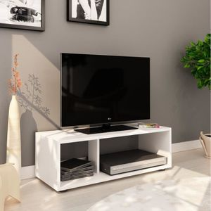 MEUBLE TV BOOM Meuble TV contemporain blanc mat - L 80 cm