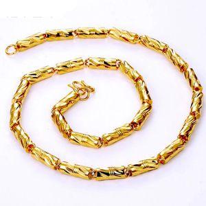CHAINE DE COU SEULE Hommes Collier solide chaîne 18k jaune plaqué or c