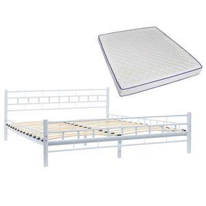 LIT COMPLET Lit métallique avec matelas 160x200 cm Blanc Desig