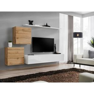 MEUBLE TV Meuble TV mural SWITCH V design, coloris blanc bri