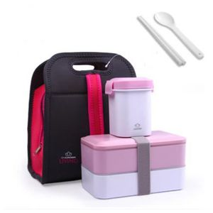 LUNCH BOX - BENTO  Set Lunch Box avec Sacoche Isotherme Couverts Boît