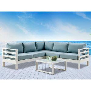 Salon de jardin SULAWESI en aluminium blanc et coussins bleu ...