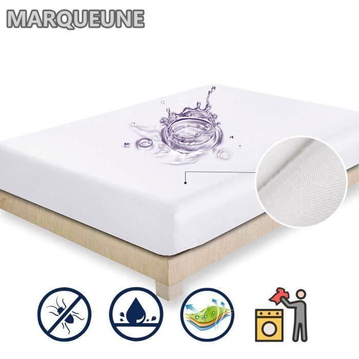 Protège matelas 160*200+30cm: Alèse Imperméable et Micro Respirante - Souple et Silencieux:blanc