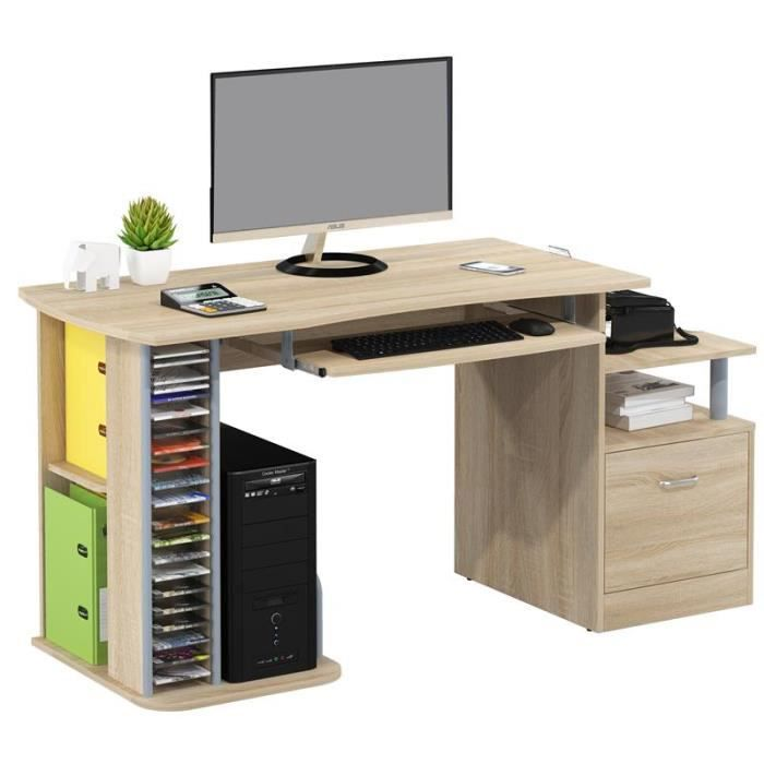 Bureau informatique ALEXIA Aspect bois de chêne