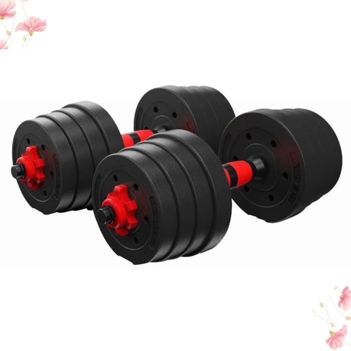 Lot de 2 Haltères - emsemble 20KG d'haltères Dumbbell Musculation Fitness Homme et Femme en Fer et PVC Noir