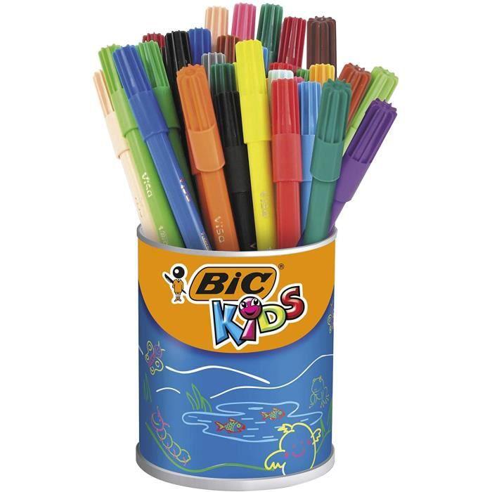 Loisirs Créatifs BIC Kids Visa Feutres de Coloriage à Pointe Fine - Couleurs Assorties, Pot de 36 11