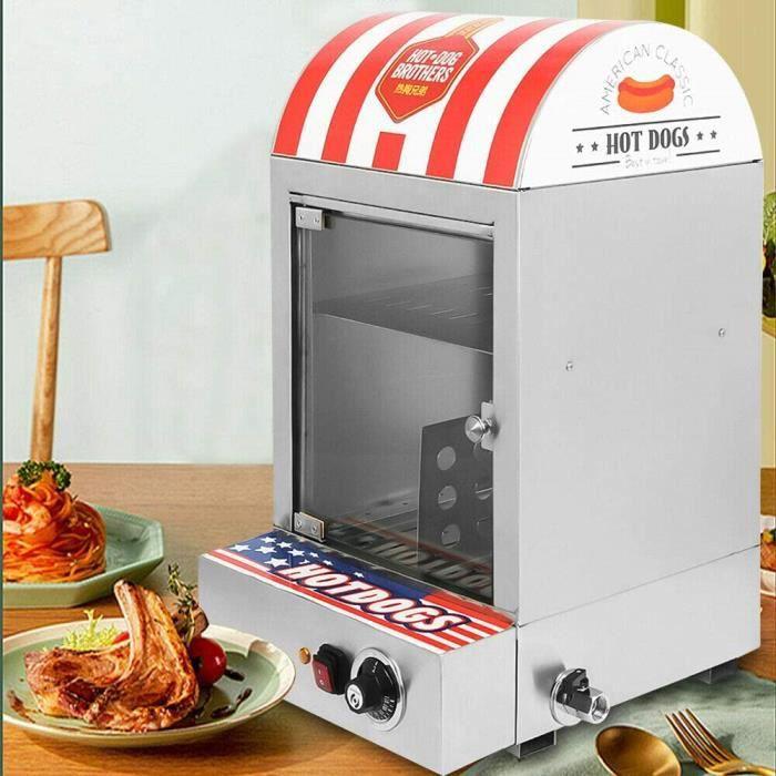 HOT DOG Cuiseur &agrave Hot-Dogs 1500 W Machine &agrave Hot-Dog en Acier Inoxydable avec Plage de Temp&eacuterature 30-110 &9