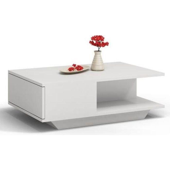 ZEKE - Table basse contemporaine - 90x60x42cm - Table à café style scandinave salon séjour bureau - Blanc