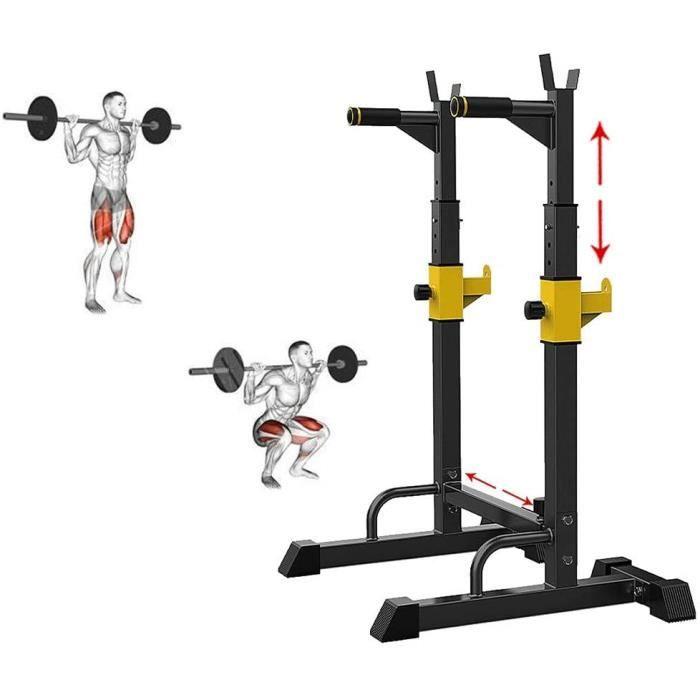 BANC DE MUSCULATION GJXJY Ajustable Rack Squat Musculation Multifonctionnel Repose Barre Musculation Squat Banc Rack Presse Stat200