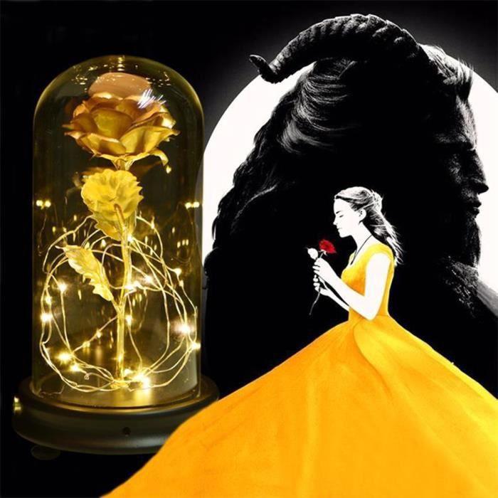 Rose Eternelle et lumière LED -La Belle et la bête- - Plaqué Or 24K - Couleur dorée HB013 HB066