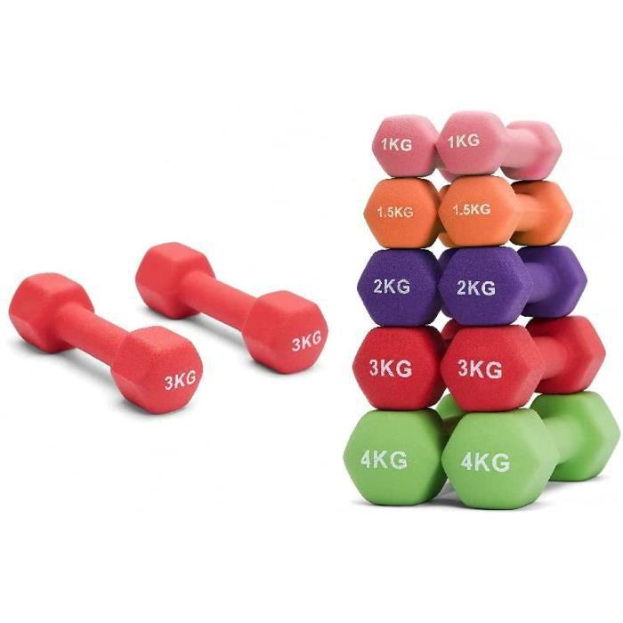 AMGYM Paire dhaltres de 0.5KG 1KG 1.5KG 2KG 3KG 4KG 5KG dans Diffrents Poids Haltres en Noprne Hex Dumbbells Fitness Musculat[16245]