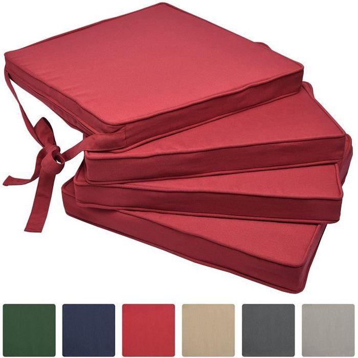 Beautissu Lot de 4 Galettes de Chaises NRouge 45x40x5 cm Loft SK - Coussins d'Assises - Jardin Extérieur - Confortable
