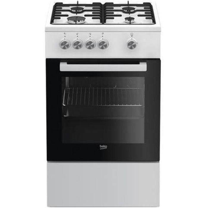 Beko FSG52000DWC Cuisinière pose libre largeur : 50 cm profondeur : 60 cm hauteur : 85 cm avec système auto-nettoyant blanc