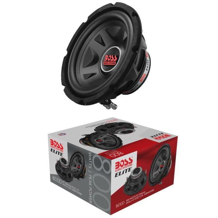 1 BOSS AUDIO SYSTEMS ELITE BE10D caisson de basses 25,00 cm 250 mm 10- dvc 4+4 ohm 400 watt rms 800 watt max 88 db, 1 pièce